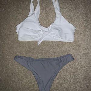 Medium White and Gray Bikini, never been worn